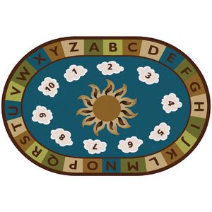 Sunny Day Learn & Play Rug, Nature - 6' x 9' Oval