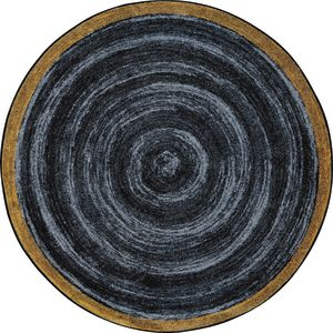 """Natural Wood-Look Round Carpet - 7'7"""" Round - Slate Gray"""