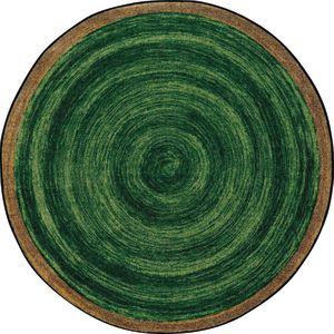"Natural Wood-Look Round Carpet - 7'7"" Round - Pine Green"