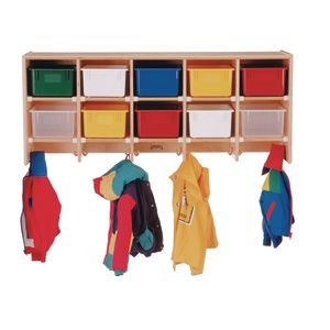 10-Section Wall Locker - With Assorted Color Trays