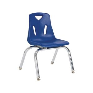 "Single 18"" Stacking Chairs with Chrome Legs - Blue"