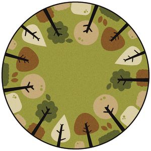 Tranquil Trees Carpet - 6' Dia. Round Green