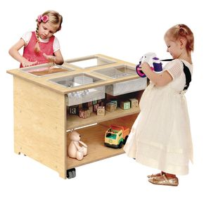 Mobile Sensory Table with 4 Trays and Lids