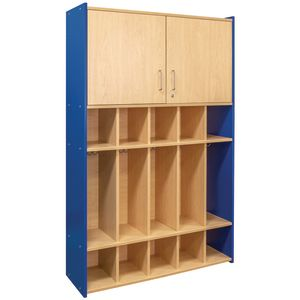 Dual Purpose Student Locker - Maple/Royal Blue, Assembled