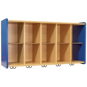 10-Cubbie Wall Locker - Maple/Royal Blue, Assembly Required