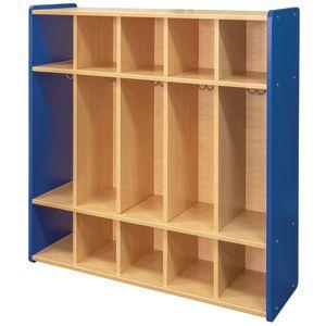 "48"" High 5-Section Locker - Maple/Royal Blue, Assembled"