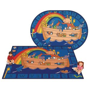Alphabet Noah 6' x 9' Oval Kids Value PLUS Carpet