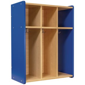 Tot Mate® 3-Section Locker - Maple/Royal Blue, Assembled