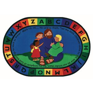 Jesus Loves the Little Children 6' x 9' Oval Kids Value PLUS Carpet