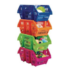 Stacking Desktop Storage, Set of 4 - Assorted Colors
