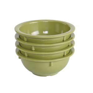 Melamine 14 oz. Green Rim Bowls - Set of 4