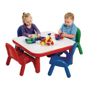 "Angeles® BaseLine® Toddler 30"" Square Table and Chair Set in Red"