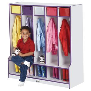 Rainbow Accents® 5-Section Coat Locker with Step - Black