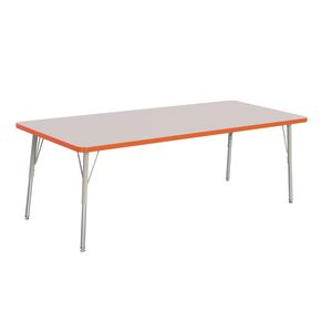"Berries® 30"" x 72"" Rectangle Activity Table, 24"" - 31"" Leg Height - Orange"