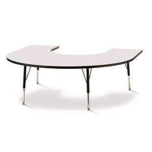 "Berries® 60"" x 66"" Horseshoe Activity Table, 15"" - 24"" - Gray/Black"