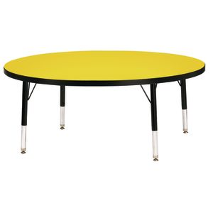 "Berries® 48""Dia. Round Activity Table, 15"" - 24"" Leg Height - Yellow/Black"