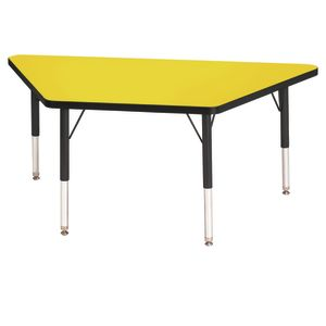"Berries® 24"" x 48"" Trapezoid Activity Table, 24"" - 31"" Leg Height - Yellow/Black"