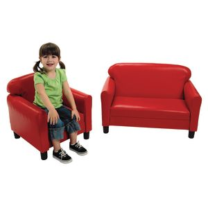 Vinyl Preschool Sofa & Chair Set - Red