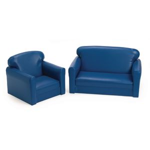 Vinyl Toddler Sofa & Chair Set - Blue