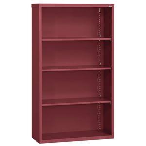 Elite Welded Bookcase - 4 Shelves - Burgundy