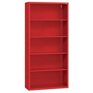 Elite Welded Bookcase - 5 Shelves - Red