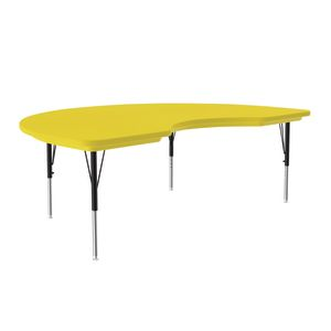 Lightweight Activity Table 48 x 72 Kidney, Adjustable Leg - Yellow