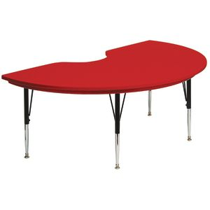Lightweight Activity Table 48 x 72 Kidney, Low Leg - Red