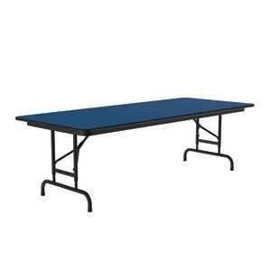 "Adjustable-Height Folding Table, 30"" x 96"" - Blue"