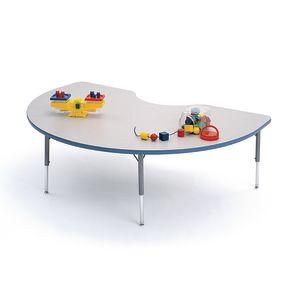 "48"" x 72"" Kidney 4000 Series Preschool Table - Gray / Sky Blue"