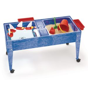 Double-Well Sand and Water Activity Table with Clear Liner - Blue
