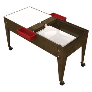 Double-Well Sand and Water Activity Table with Clear Liner - Chocolate