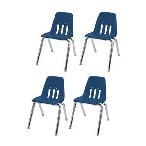 "14"" Virco 9000 Chair w/Chrome Legs S/4 - Navy"