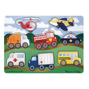 Melissa & Doug Vehicle Wooden Peg Puzzle 8-Pieces