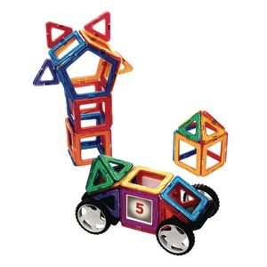 Excellerations® Magnetic Hinged Tiles with Wheeled Platforms STEM Construction Set for Kids, 66 Pieces