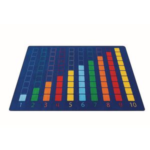 Colorful Counting Grid Premium Carpet - 6' x 9' Rectangle