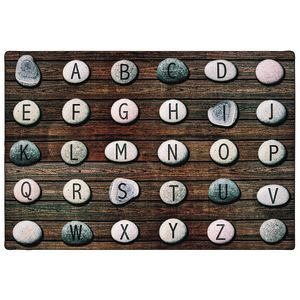 Alphabet Stones Seating 6' x 9' Rectangle Pixel Perfect Carpet