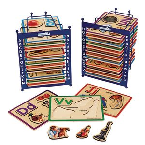 Alphabet Puzzle Set of 26 with 2 Anti-Slide Puzzle Storage Racks