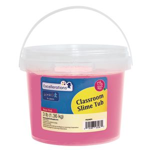Excellerations Classroom-Sized Tub of Slime, 3lbs- Neon Pink