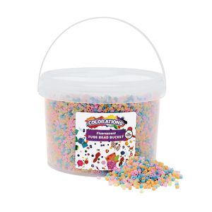 Colorations Fluorescent Fuse Beads & 6 Pegboards in a Bucket - 22,000 Beads