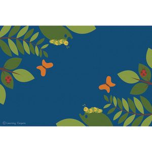 Fern Corner Premium Carpet, Blue - 6' x 9' Rectangle