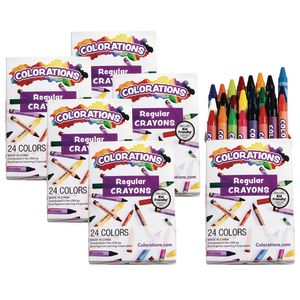 Colorations Regular Crayons, Set of 24 Colors, 6 Packs