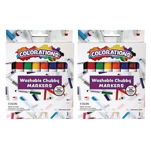 Colorations Chubby Markers, 8 Colors, 2 Packs