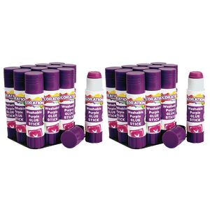 Colorations® Washable PURPLE Glue Sticks, 0.32 oz, set of 24