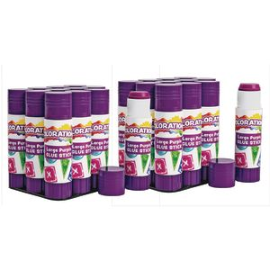 Colorations® Large Purple Glue Sticks in a tray, 0.88 oz, set of 24