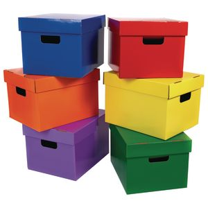 Cardboard Storage Totes - Set of 6, Assorted