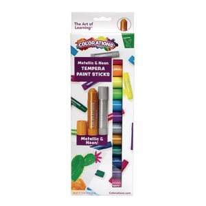 Colorations Metallic & Neon Tempera Paint Sticks, Set of 12