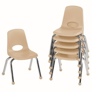 """12"""" Stack Chair with Ball Glides - Sand, Set of 6"""