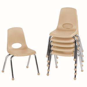 """14"""" Stack Chair with Ball Glides - Sand, Set of 6"""
