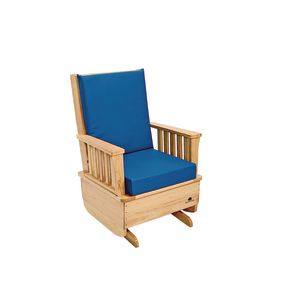 Premium Easy-Care Glider Rocker with Blue Cushion