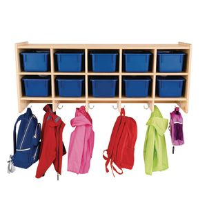 10-Section Wall Locker with Blue Trays